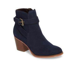 Sole Society Paislee Suede Buckle Strap Bootie Size: 9 Navy Blue